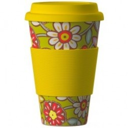 Eco Bamboo Cup - Daisies Yellow, sárga
