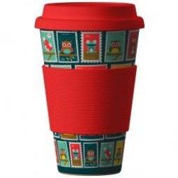 Eco Bamboo Cup - Stamps (bélyegek) Red, piros