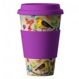 Eco Bamboo Cup - Birds, madarak, lila