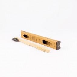 Bambusz fogkefe Medium black faszénnel-1