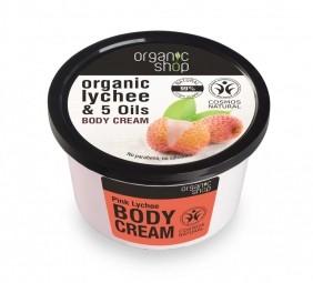 Organic Shop - Rózsaszín Licsi - Testápoló krém, 250 ml