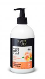 Organic Shop - Rózsa és őszibarack - Tápláló szappan kézre, 500 ml
