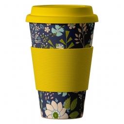 Eco Bamboo Cup - Dark Flowers vadvirágok, sárga